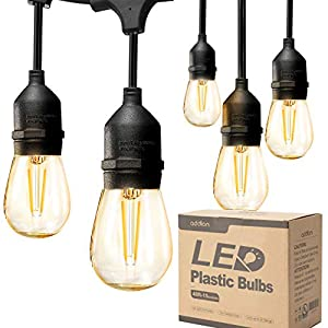 addlon LED Outdoor String Lights 48FT with 2W Dimmable Edison Vintage Plastic Bulbs and Commercial Great Weatherproof…