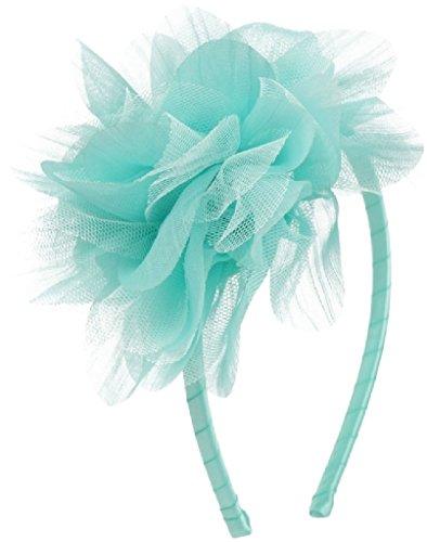 Mesh Large Flower Narrow Headband Hair Accessories Little Flower Girl (HBKD012) Mint 2X - Narrow Green Band
