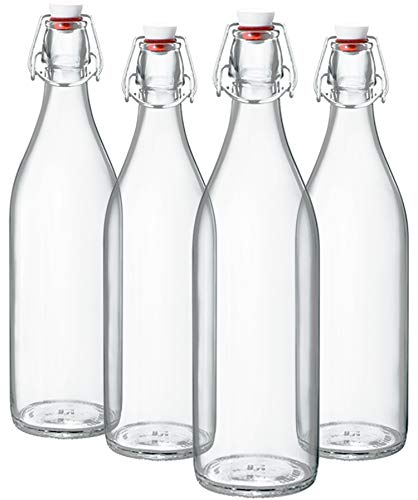 (Bormioli Rocco Giara Clear Glass Bottle With Stopper [Set of 4] Swing Top Bottles Great for Beverages, Oil, Vinegar | 33 3/4 oz)