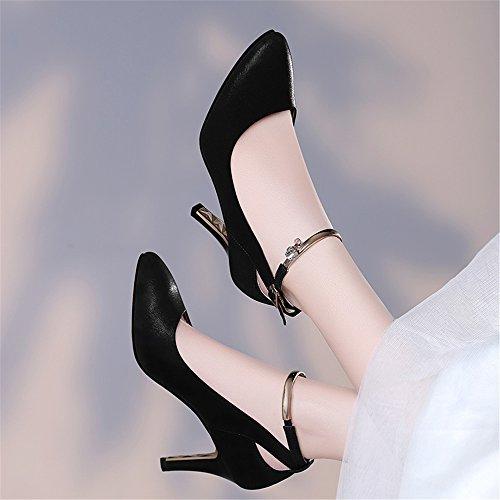 Xzgc Stiletto Puntiagudos De Tacones Negro Moda Zapatos Femenina RRqUvr