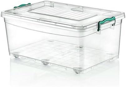 Grande Resistente de 40 litros debajo de la cama de plástico transparente caja de almacenamiento apilable Contenedor tapa ruedas: Amazon.es: Hogar