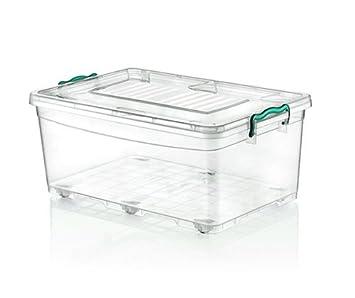 2 x grande 40 litros Heavy Duty cajas de plástico transparente caja de almacenaje apilable Contenedor con ruedas y Clip tapa: Amazon.es: Hogar
