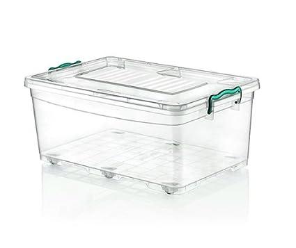 2 x grande 40 litros Heavy Duty cajas de plástico transparente caja de almacenaje apilable Contenedor