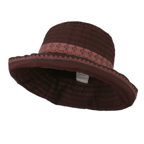 - Jeanne Simmons Woman's Stripe Design Crushable Hat with Lace Accent - Wine OSFM
