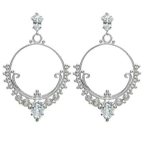 Rhodium On 925 Sterling Silver Leaf Round Loop Clear Cz Crystal Dangle Charm Chandelier Stud Post Earring