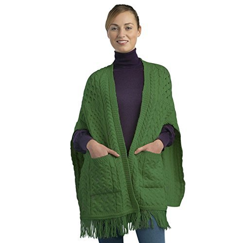 100% Irish Merino Wool Ladies Pocket Shawl by West End Knitwear (Fisherman Sweater Cardigan Irish)