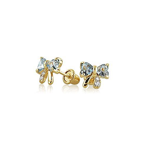 Tiny Cubic Zirconia Blue Aqua Simulated Aquamarine CZ Ribbon Bow Stud Earrings For Women Real 14K Gold Screwback