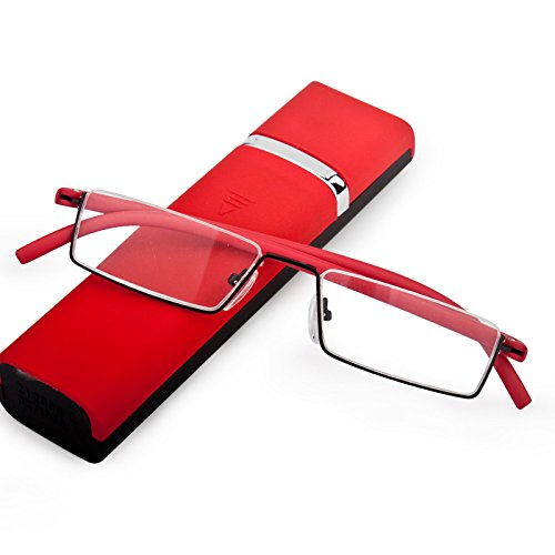 Lightweight Flexible Half Frame Reading Glasses Pocket Readers Portable Semi Rimless Eyeglasses Eyewear with Case for Men Women (Red, 1.5 - Measuring Eyeglass Frames