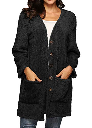 Soluo Women's Fleece Fuzzy Open Front Button Winter Coat Soft Sweater with Pockets Outerwears Jackets (Black,Medium)