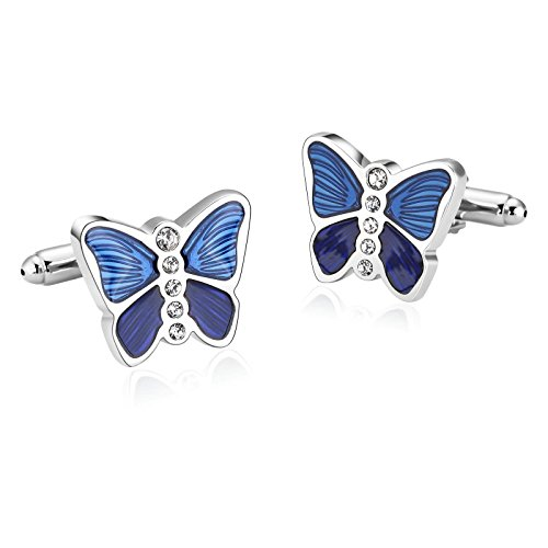 Black Box Wine Halloween Costume (Gnzoe Men Stainless Steel Silver Blue Butterfly Zirconia Shirt Cufflinks with Gift Box)