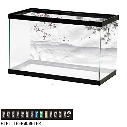 bybyhome Fish Tank Backdrop Floral,Chinese Style Artwork,Aquarium Background,36