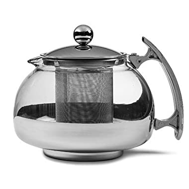 Chef's Star Premium Glass Tea Pot & Infuser - Stainless Steel, 16 oz