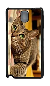 make case cute cat green eyes PC Black case/cover for Samsung Galaxy Note 3 N9000