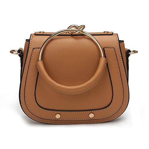 Women Punk Circular Ring Handle Handbags Small Round Purse Crossbody Bags for Girls (Brown.leather handle)