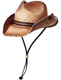 Straw Round up Cowboy Hat w/Leather Strap (Tea Stained)