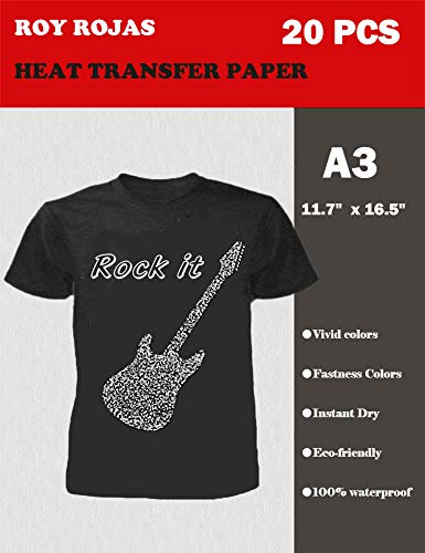 Roy Iron On Transfer Paper 20 Sheets for Dark T-Shirt, 17