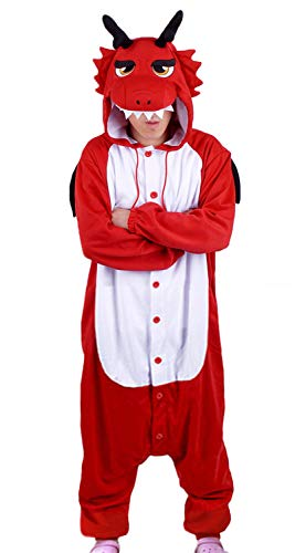 WOTOGOLD Animal Cosplay Costume Dragon Unisex-Adult Pajamas Size XL Red
