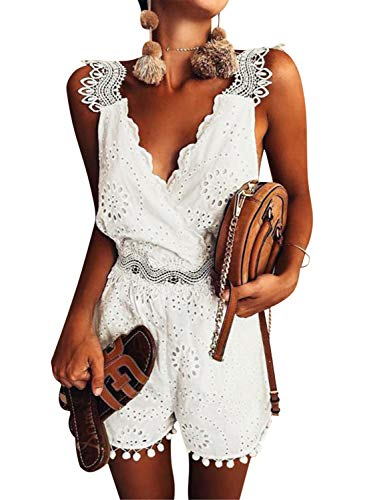 Simplee Apparel Women's Spaghetti Strap Sleeveless V Neck Emboridered Floral Romper Jumpsuit Playsuit (8, White) ()