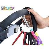 Gancho para Carriola XL (Stroller Hook) Clip Multiusos, para Colgar Pañaleras y Bolsas, Accesorio ideal para Mamás, de Aluminio con Espuma Cómoda, Ultra Resistente y Ligero.