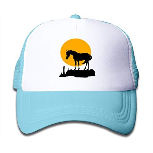 Sunset Moon Horse Mesh Cap Baseball Trucker Hat Adjustable for Boy Sky Blue