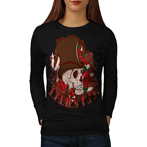 Ladies Man Skull Women M Long Sleeve T-shirt | Wellcoda (Birds Of War Costume)