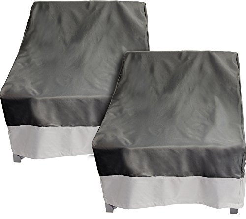 Reusable Revolution 2 Pack Deep Chair Patio Cover - Outdoor Furniture Cover (Dark Grey w/Grey Trim)