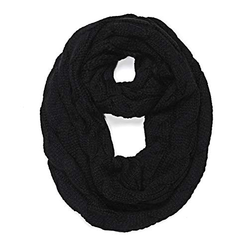 Knitted Cable Ring ScarfSoft Infinity ScarvesCashmere Neck Circle Scarf,Black With Tag,With Tag
