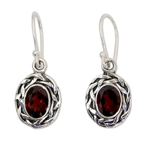 Faceted Garnet Earrings (NOVICA Woven .925 Sterling Silver and Garnet Dangle Earrings, 'Indian Basket')