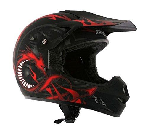AMX Casco Motocross para Niños, Negro/Rojo Mate, YL: Amazon.es: Coche y moto