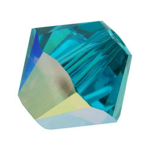 Swarovski Crystal, 5328 Bicone Beads 4mm, 24 Pieces, Blue Zircon AB - Blue 4 Mm Bicone