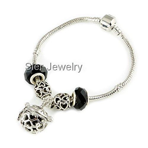 Sier Valentine Heart Aromatherapy Perfume Essential Oil Diffuser Bracelet Locket With Lava Stone (Black) (Oil Sier)