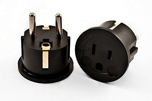 VCT Electronics VP11B Grounded Europe Adapter - USA To Europe Heavy Duty Adaptor Plug German Schuko by VCT Electronics