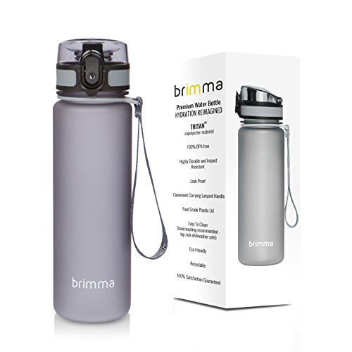 Premium Sports Water Bottle With Leak Proof Flip Top Lid - Eco Friendly & BPA Free Tritan Plastic - Must Have For The Gym, Yoga, Running, Outdoors, Cycling, and Camping - By Brimma