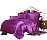 Oversized King Size Bedding 126x120 SLEEPIFIC Classic Collection of Luxurious 3-Piece Silky Satin Comforter Set, Hotel Quality- Polyster-Hypoallergenic, Comforter + 2 Pillowshams, Purple, Oversized King(98'' x 120'')