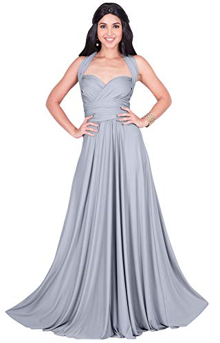 KOH KOH Petite Womens Long Bridesmaid Multi-Way Wedding Convertible Wrap Infinity Cocktail Sexy Summer Party Formal Prom Transformer Gown Gowns Maxi Dress Dresses, Gray/Grey XS 2-4
