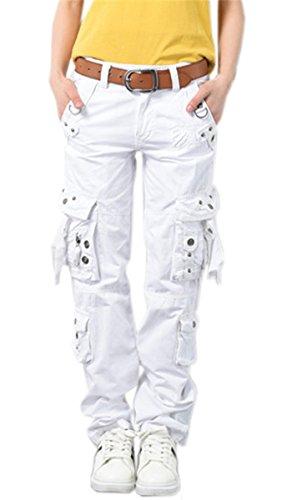 - NAWONGSKY Women's Utility Military Style Cargo Pants Without Bottom Drawstring, White, Tag 29 = US (0-2)