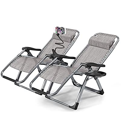 1INCH Zero Gravity Chair, Set of 2 Adjustable Lounge Chair Outdoor Recliner with Cup Holder Trays for Patio, Beach, Lawn, Camping, Pool