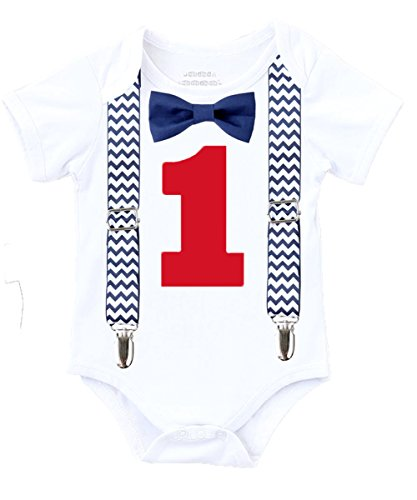 - Noah's Boytique Boys Cake Smash Outfit First Birthday Shirt Navy Blue Chevron Suspenders Navy Bow Red Number One 6-12 Months