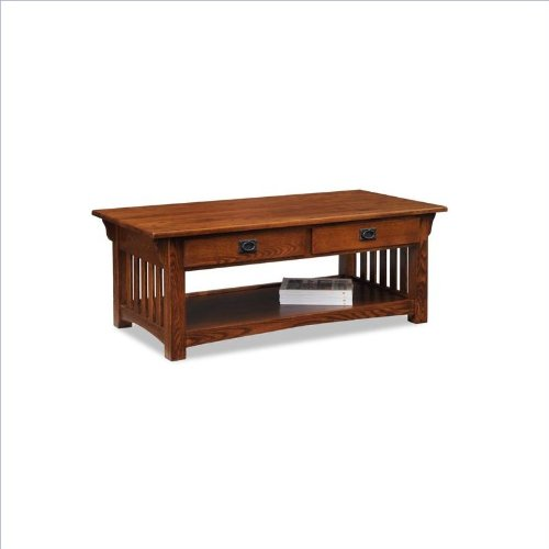 Leick Furniture Mission 2-Drawer Coffee Table, Medium - Medium Oak Top Table