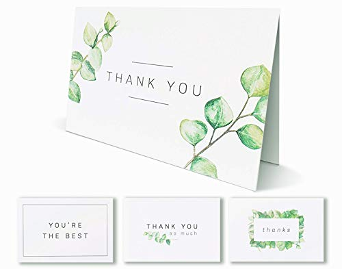 Blank Watercolor Thank You Cards: 36 Assorted Boxed Pack - Elegant Floral Green & Black & White Card Designs: Bulk Note Box for Graduation, Wedding, Bridal Party, Baby Shower, Men ()