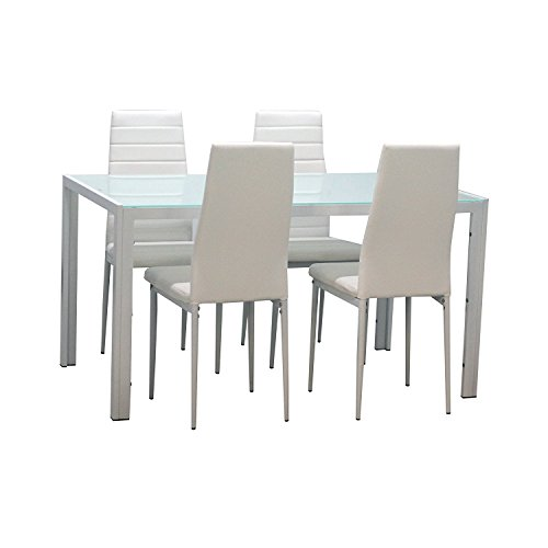 EBS 5 Piece Dining Table Set with Glass Table Top, Padded PU Leather Chairs for 4 and Metal Frame Table for Dining Room Kitchen Furniture, White ()