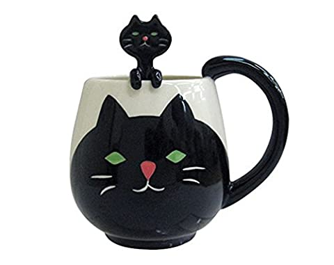 Coffee Mug, 12 Oz. Cup and Spoon - Gift for Children and Friends (Cat) - Animal Handle Mug