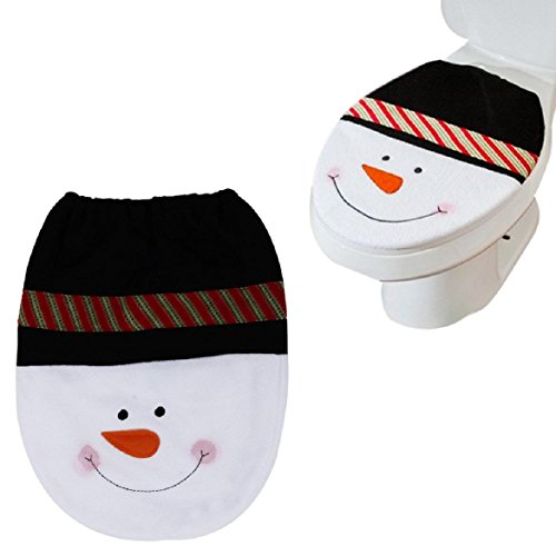 Susenstone® Snowman Toilet Seat Cover and Rug Bathroom Set Christmas Decoration cheap