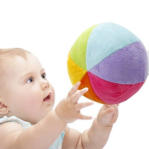 SHILOH Soft Plush Stuffed Rainbow Ball with Gentle Rattle - First Ball for Baby (Ball Soft Baby)