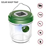 Zoeyea Wasp Trap Catcher, Bee Trap, Outdoor Solar Powered Fly Trap with Ultraviolet LED Light for Trapping Bees, Wasps, Hornets, Yellow Jackets, Bugs in Home Garden Outdoor FarmsOrchards Backyards