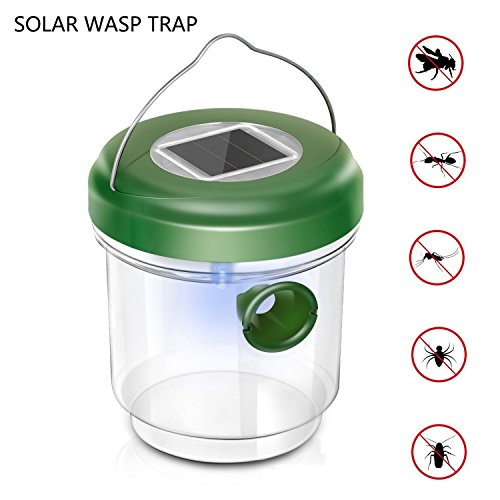 Zoeyea Wasp Trap Catcher, Bee Trap, Outdoor Solar Powered Fly Trap with Ultraviolet LED Light for Trapping Bees, Wasps, Hornets, Yellow Jackets, Bugs in Home Garden Outdoor Farms Orchards Backyards by Zoeyea