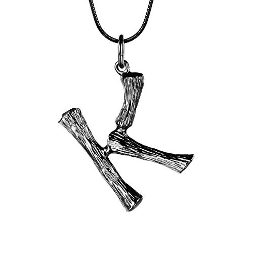 FOCALOOK Initial Necklace Black Gun Plated Bamboo Monogram Capital Alphabet Charms Surgical Stainless Steel Pendant with Snake Chain Women Men Party Fashion Jewelry Letter Necklace(K)