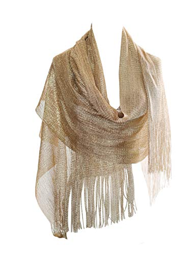 (MissShorthair Womens Wedding Evening Wrap Shawl Glitter Metallic Prom Party Scarf with Fringe (2 Metallic Champagne Gold))
