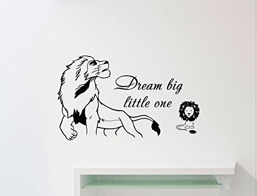 (Dream Big Little One Lion King Wall Decal Simba Walt Disney Quote Poster Nursery Custom Cartoon Vinyl Sticker Home Art Decor Kids Baby Girl Boy Room Mural Print Removable Vinyl Sticker 112ct)