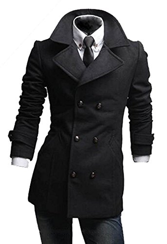 [Dolores Pag Handsome Fashion Men's Mid-Long Slim Fit Trench Double Breasted Wool Coat CamelUS Small-(China] (Morph Suite)